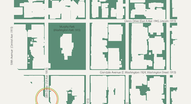 Map of undeveloped area over 100 years in Glendale, AZ
