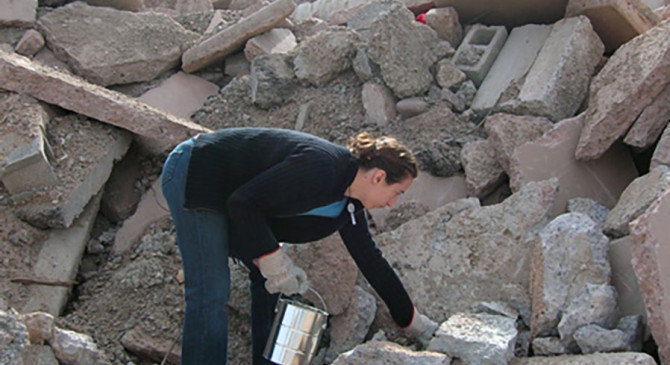 Interventionist work Rebuilding the City Collecting, documenting, diagramming and tying together the rubble of a city.