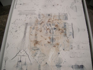 Iceflow drawing after melted ice, ink on paper by Jen Urso
